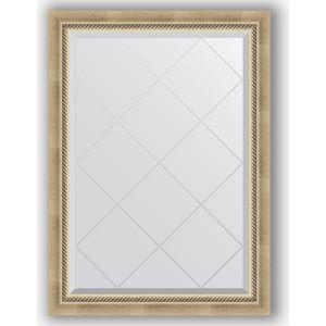 Зеркало с гравировкой поворотное Evoform Exclusive-G 73x101 см, в багетной раме - состаренное серебро плетением 70 мм (BY 4175)