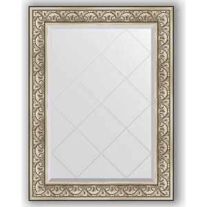 Зеркало с гравировкой поворотное Evoform Exclusive-G 80x107 см, в багетной раме - барокко серебро 106 мм (BY 4209)