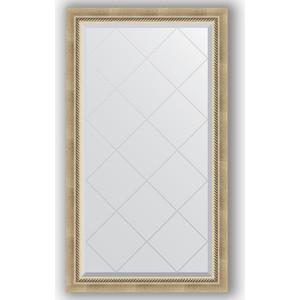 Зеркало с гравировкой поворотное Evoform Exclusive-G 73x128 см, в багетной раме - состаренное серебро плетением 70 мм (BY 4218)