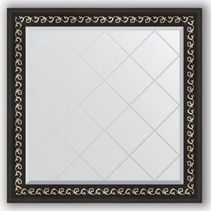 Зеркало с гравировкой Evoform Exclusive-G 85x85 см, в багетной раме - черный ардеко 81 мм (BY 4311)