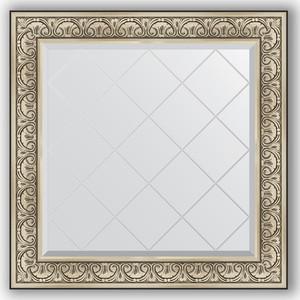 Зеркало с гравировкой Evoform Exclusive-G 90x90 см, в багетной раме - барокко серебро 106 мм (BY 4338)