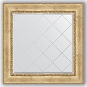 Зеркало с гравировкой Evoform Exclusive-G 92x92 см, в багетной раме - состаренное серебро с орнаментом 120 мм (BY 4342) зеркало evoform exclusive g floor 207х87 состаренное серебро с орнаментом