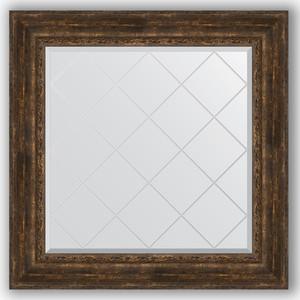Зеркало с гравировкой Evoform Exclusive-G 92x92 см, в багетной раме - состаренное дерево с орнаментом 120 мм (BY 4344) цены