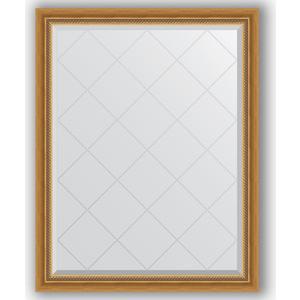Зеркало с гравировкой поворотное Evoform Exclusive-G 93x118 см, в багетной раме - состаренное золото с плетением 70 мм (BY 4346) зеркало evoform exclusive g 86х63 состаренное золото с плетением