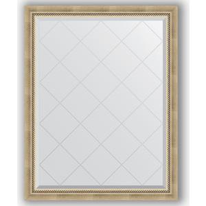 Зеркало с гравировкой поворотное Evoform Exclusive-G 93x118 см, в багетной раме - состаренное серебро с плетением 70 мм (BY 4347) зеркало evoform exclusive g 128х73 состаренное серебро с плетением