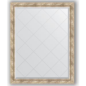 Зеркало с гравировкой поворотное Evoform Exclusive-G 93x118 см, в багетной раме - прованс с плетением 70 мм (BY 4349) фото