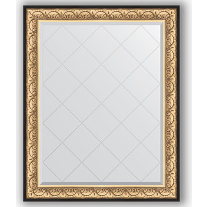 Зеркало с гравировкой поворотное Evoform Exclusive-G 100x125 см, в багетной раме - барокко золото 106 мм (BY 4380) фото
