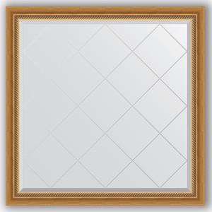 Зеркало с гравировкой Evoform Exclusive-G 103x103 см, в багетной раме - состаренное золото с плетением 70 мм (BY 4432) зеркало evoform exclusive g 86х63 состаренное золото с плетением