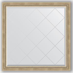 Зеркало с гравировкой Evoform Exclusive-G 103x103 см, в багетной раме - состаренное серебро с плетением 70 мм (BY 4433) зеркало evoform exclusive g 128х73 состаренное серебро с плетением