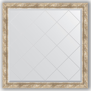 Зеркало с гравировкой Evoform Exclusive-G 103x103 см, в багетной раме - прованс с плетением 70 мм (BY 4435) зеркало с гравировкой поворотное evoform exclusive g 53x71 см в багетной раме прованс с плетением 70 мм by 4005