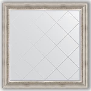 Зеркало с гравировкой Evoform Exclusive-G 106x106 см, в багетной раме - римское серебро 88 мм (BY 4448) зеркало evoform exclusive g 186х131 римское серебро