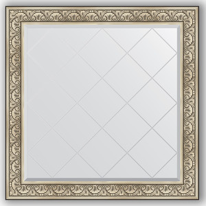 Зеркало с гравировкой Evoform Exclusive-G 110x110 см, в багетной раме - барокко серебро 106 мм (BY 4467)
