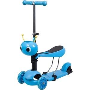 Самокат-кикборд NOVATRACK Disco-kids, детский трансформер, max 40кг, голубой (120S.DISCOKIDS.BL7)