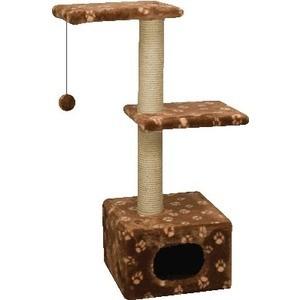 Когтеточка Зооник Дом с 2-мя площадками цветной мех для кошек 400 х 360 980см (22011)