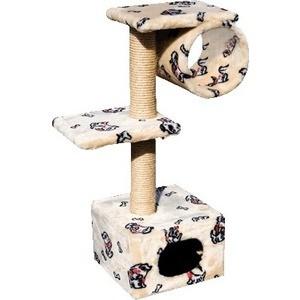 Когтеточка Зооник Дом с 2-мя площадками и трубой цветной мех для кошек 400 х 360 980см (22018)