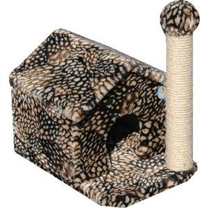 Когтеточка Зооник Дом с когтеточкой цветной мех для кошек 360 х 520 500см (22025)