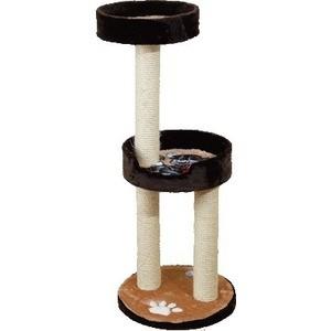 Когтеточка Зооник Комплекс с двумя лежанками однотонный мех с аппликацией для кошек 460 х 500 х 1150см (22052) домик для кошек зооник 22101 9 с круглым домом 2 мя лежанками мебельная ткань мех синяя