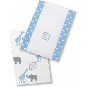 Полотенчики SwaddleDesigns Baby Burpie Set Blue Elephant & Giraffe (SD-457B) полотенчики swaddledesigns baby burpie set kiwi paisley sd 121kw