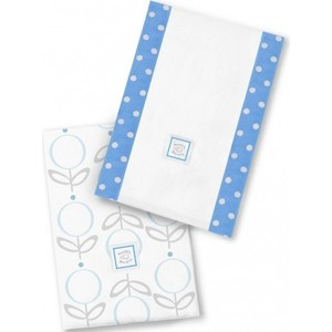 Полотенчики SwaddleDesigns Baby Burpie Set Blue Lolli Fleur (SD-601B)