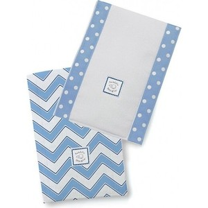 Полотенчики SwaddleDesigns Baby Burpie Set Blue/TB Trim Chevron (SD-451B) детский плед swaddledesigns stroller blanket bavarian rhombus blue sd b020b
