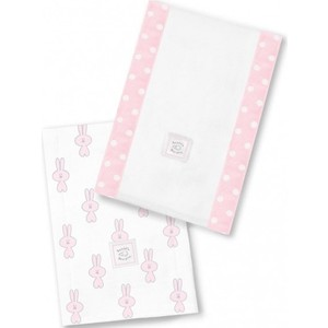 Полотенчики SwaddleDesigns Baby Burpie Set Pink Little Bunnie (SD-623PP)