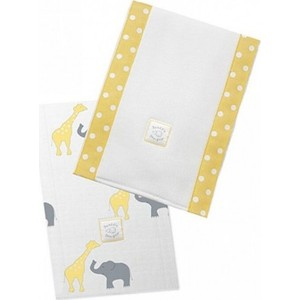 Полотенчики SwaddleDesigns Baby Burpie Set Yellow Elephant & Giraffe (SD-457Y)