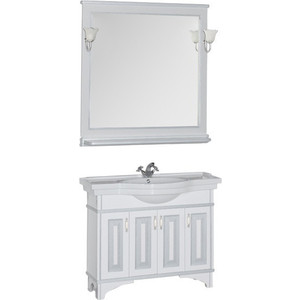 Мебель для ванной Aquanet Валенса 110 белый краколет/серебро зеркало aquanet валенса 90 черный краколет серебро 180140