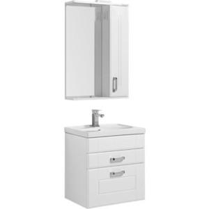 Мебель для ванной Aquanet Рондо 60 два ящика, белый шкаф зеркало aquanet рондо 60 белый 189164