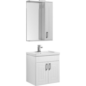 Мебель для ванной Aquanet Рондо 60 с дверцами, белый шкаф зеркало aquanet рондо 60 белый 189164