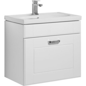 Тумба под раковину Aquanet Рондо 60 с ящиком, белая (189158) цены онлайн