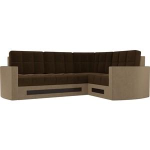 Диван угловой Мебелико Белла У микровельвет коричнево-бежевый правый диван угловой мебелико белла у микровельвет зелено бежевый правый