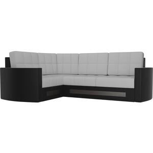 Диван угловой Мебелико Белла У эко-кожа бело-черный левый диван мебелико тахта эко кожа бело черный левый