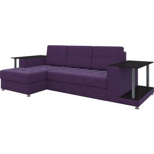 Диван угловой АртМебель Даллас микровельвет фиолетовый левый