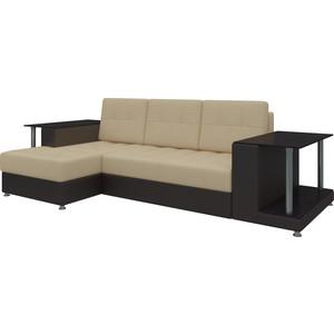 Диван угловой Мебелико Даллас эко-кожа бежево-коричневый левый кушетка мебелико принц эко кожа бежево коричневый левый