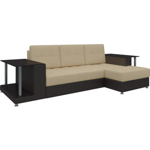 Диван угловой Мебелико Даллас эко-кожа бежево-коричневый правый диван мебелико малютка эко кожа бежево коричневый
