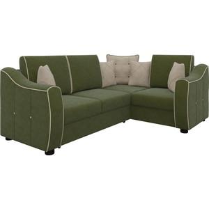 Диван угловой Мебелико Френсис микровельвет зелено-бежевый правый диван угловой мебелико белла у микровельвет зелено бежевый правый
