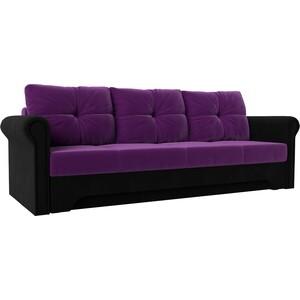 Диван-еврокнижка АртМебель Европа микровельвет фиолетово-черный диван еврокнижка артмебель европа микровельвет коричнево бежевый