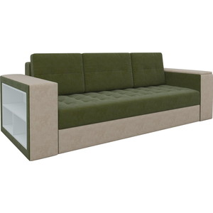 Диван-еврокнижка Мебелико Пазолини микровельвет зелено-бежевый диван еврокнижка мебелико венеция микровельвет зелено бежевый