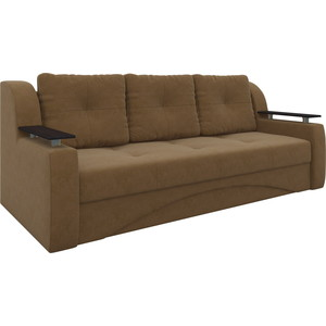Диван-еврокнижка Мебелико Сенатор микровельвет коричневый диван еврокнижка мебелико европа микровельвет зелено бежевый