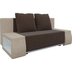 Диван-еврокнижка Мебелико Чарли люкс микровельвет коричнево-бежевый фото