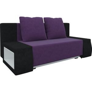 Диван-еврокнижка АртМебель Чарли люкс микровельвет фиолетово-черный диван артмебель евро люкс 09 12