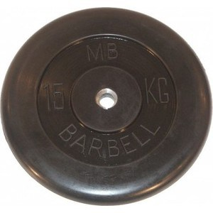 цена на Диск обрезиненный MB Barbell 31 мм. 15 кг. черный Стандарт