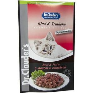 Паучи Dr.Clauders Beef & Turkey in Sauce с мясом и индейкой кусочки в соусе для кошек 100г