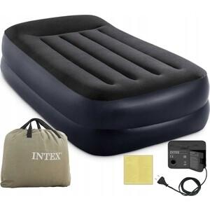 Надувная кровать Intex 64122 Pillow Rest Raised Bed 99х191х42см с подголовником, встроенный насос 220V