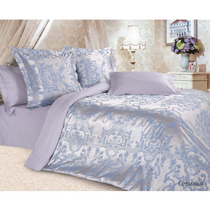 Комплект постельного белья Ecotex Семейный, сатин-жаккард, Севилья (4680017869706) комплект постельного белья cloud factory 3 пр сатин simple love blue