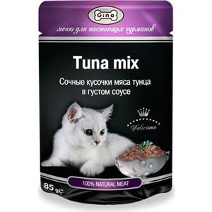 Паучи Gina Tuna Mix сочные кусочки мяса тунца в густом соусе для кошек 85г (420978) фото
