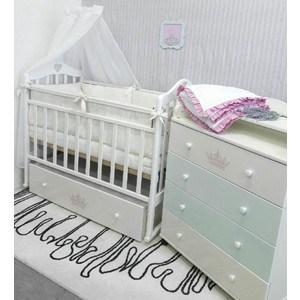 Кроватка By Twinz Версаль поперечный маятник с ящиком белый