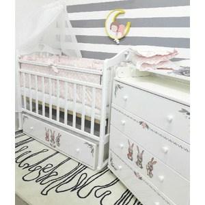 Кроватка By Twinz Зайки поперечный маятник с ящ. белый