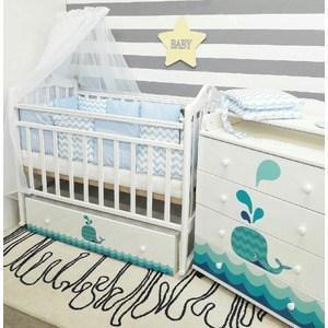 Кроватка By Twinz Маленький Кит поперечный маятник с ящ. белый
