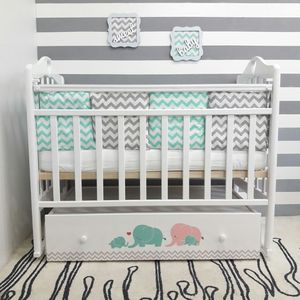 Кроватка By Twinz Мэри поперечный маятник с ящ. бирюза/розовый
